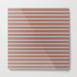 Red And White Zig Zag Christmas Pattern Metal Print