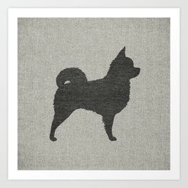 Long Haired Chihuahua Silhouette Art Print