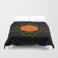 hexagon Duvet Covers featuring HEXAGON by KARNATARKA