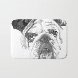 Portrait Of An American Bulldog In Black and White Bath Mat