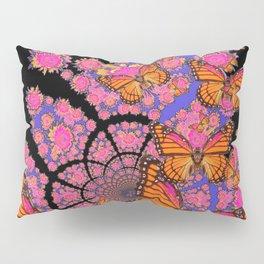 MONARCH BUTTERFLIES ROSE-LILAC FLOWER GARDEN Pillow Sham