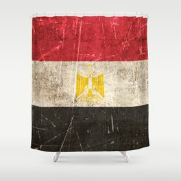 Vintage Aged and Scratched Egyptian Flag Shower Curtain