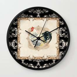 Kitchen Rooster Spangled Allen Setter Watercolor Damask Vintage Style Wall Clock