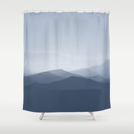 hazy morning blues Shower Curtain