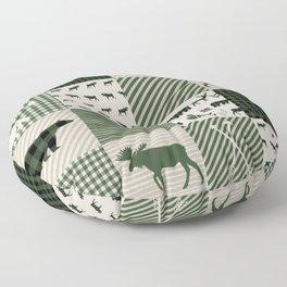Camping hunter green plaid quilt cheater quilt baby nursery cute pattern bear moose cabin life Floor Pillow