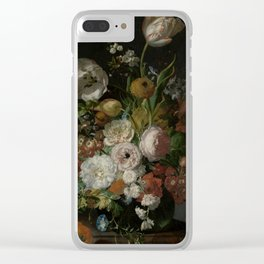 Rachel Ruysch - Still life with flowers in a glass vase (1690-1720) Clear iPhone Case
