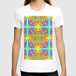 BOHEMIAN STYLE QUILTED TURQUOISE BUTTERFLIES & FLOWERS T-shirt