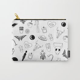 Black Eclectic Pattern Carry-All Pouch