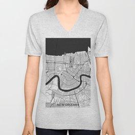 New Orleans Map Gray Unisex V-Neck