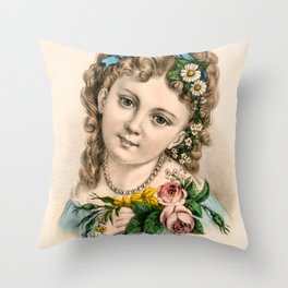 Little Flower Girl Throw Pillow