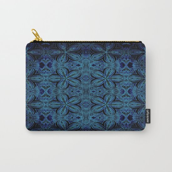 Turquoise Teal Delicate Flowers Carry-All Pouch