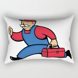 Aircon Technician Running Cartoon Rectangular Pillow