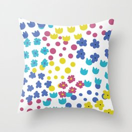 Flowers and Dots Galore Throw Pillow