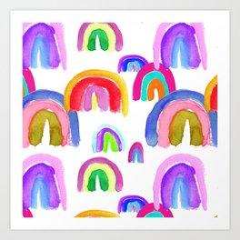 Vivid Watercolor Rainbows in White Art Print