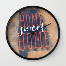 home sweet home alabama - orange and blue Wall Clock