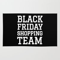 discount Area & Throw Rugs featuring Black Friday Shopping Team (Black & White) by CreativeAngel