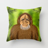 yeti Throw Pillows featuring Yeti by Designs By Misty Blue (Misty Lemons)