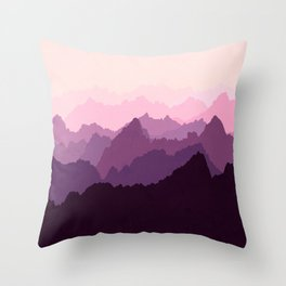 Mountains in Pink Fog Throw Pillow