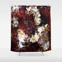 novelty Shower Curtains featuring Jasmine and Columbine Abstract by Moody Muse
