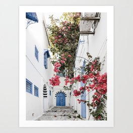 Alley with blue door and pink blossom in Tunisia  Art Print