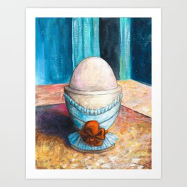 A boiled egg according to Edgar Degas Art Print