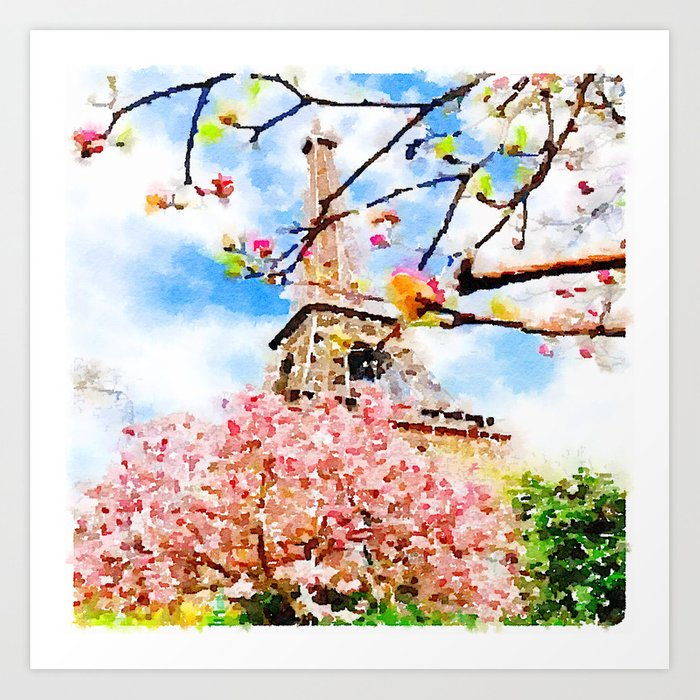 Early Spring By The Eiffel Tower Watercolor Art Print By Melissapolomsky