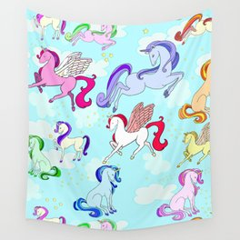 Unicorn repeating pattern colorful on blue Wall Tapestry