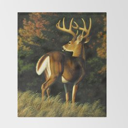 Whitetail Deer Trophy Buck Throw Blanket