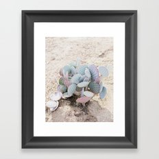 Pink and Mint Cactus Framed Art Print