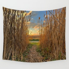 Midwest Grasslands Sunset Wall Tapestry