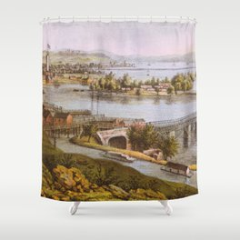 Vintage Aqueduct of Georgetown Map (1865) Shower Curtain