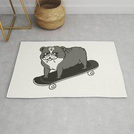 Skateboarding English Bulldog Rug