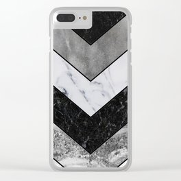 Shimmering mirage - grey marble chevron Clear iPhone Case