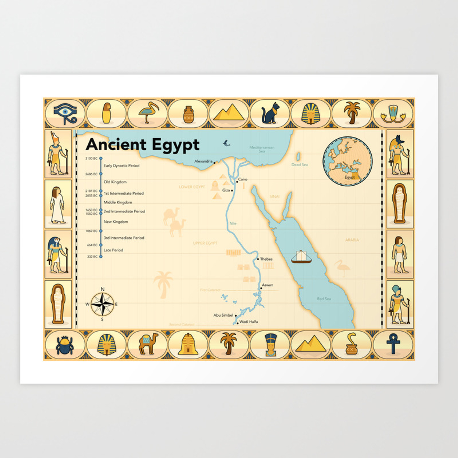 Illustrated map of Ancient Egypt Art Print on printable map of africa, printable map of ancient civilizations, printable map of china, printable ancient egyptian gods, printable map of the rainforest, library of ancient egypt, printable map of ancient world, printable map of ancient middle east, printable map of ancient babylon, printable map of the revolutionary war, printable detailed map of egypt, aerial view of ancient egypt, wildlife of ancient egypt, printable current events in science, world of ancient egypt, printable map of nile river, printable map of cold war, amenities of ancient egypt, virtual tour of ancient egypt, printable map of easter island,