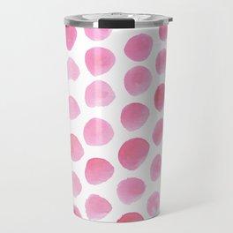 Pink Polka Dot Watercolour Travel Mug
