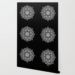 White Mandala On Black Wallpaper