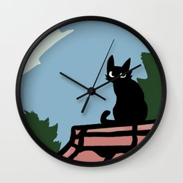 Outside Cat Contemplates Wall Clock