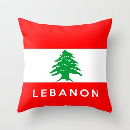 Lebanon country flag name text Throw Pillow