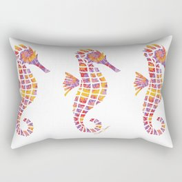 Festival Sunset Seahorse on White Rectangular Pillow