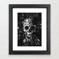 Garden Skull Dark B&W Framed Art Print
