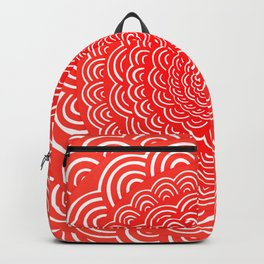 Spiral Mandala (RED) Curve Round Rainbow Pattern Unique Minimalistic Vintage Zentangle Backpack