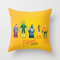 justice league Throw Pillows featuring Justice League of America - Pixel Nostalgia by Boo! Studio