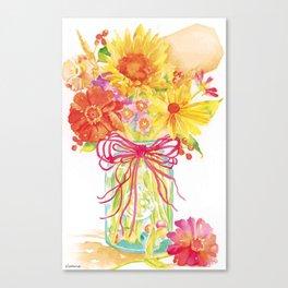 floral in vase watercolor Canvas Print