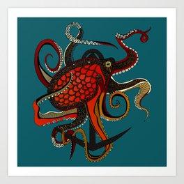 octopus ink teal Art Print