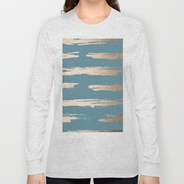 Abstract Painted Stripes Gold Tropical Ocean Blue Long Sleeve T-shirt