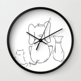 Cat, elephant, and dog friendship trio Wall Clock