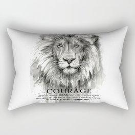 Lion Courage Motivational Quote Watercolor Painting Rectangular Pillow