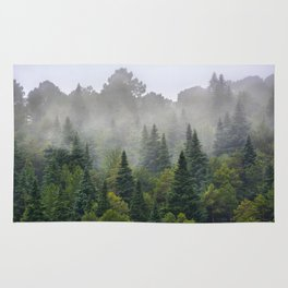 """""""Dream forest"""" Endemig trees into the fog Rug"""