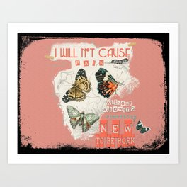 ISAIAH 66:9  Abstract Scripture Collage Art Butterflies Bible Verse Art Print