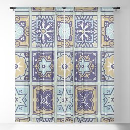 Talavera Mexican Tile – Mint & Navy Palette Sheer Curtain